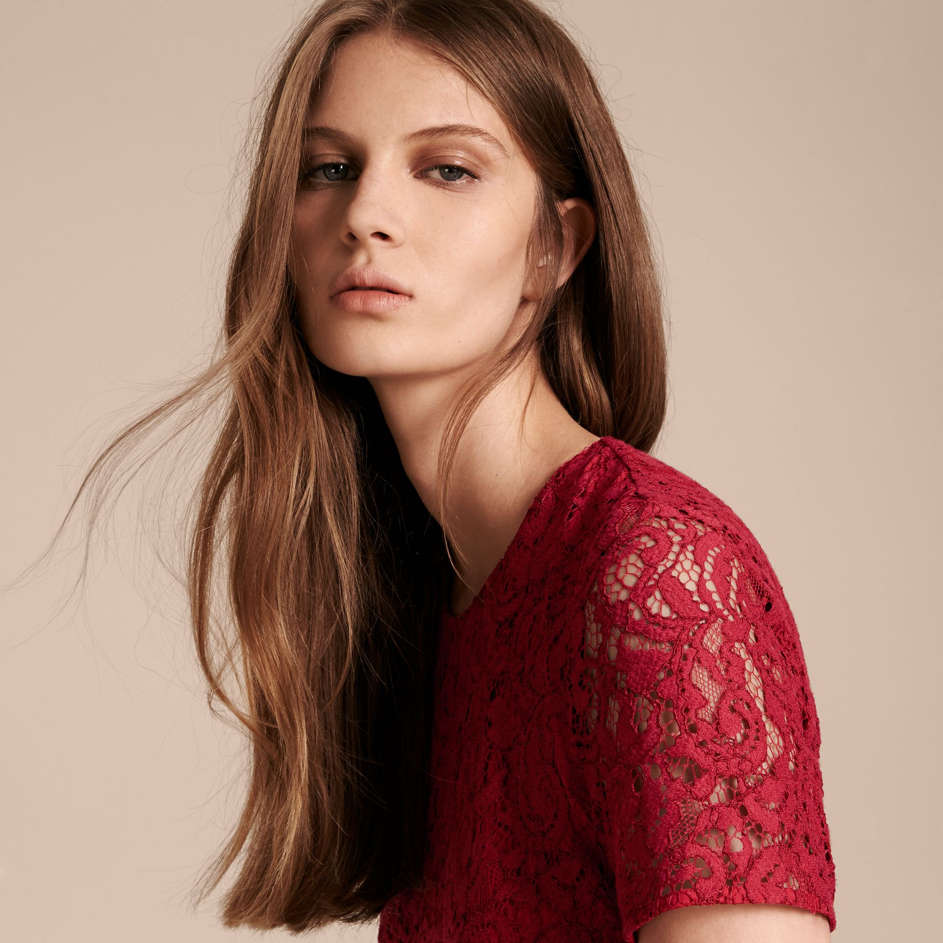 Fit-and-flare Dropped-waist Lace Dress in Parade Red - gallery image 5