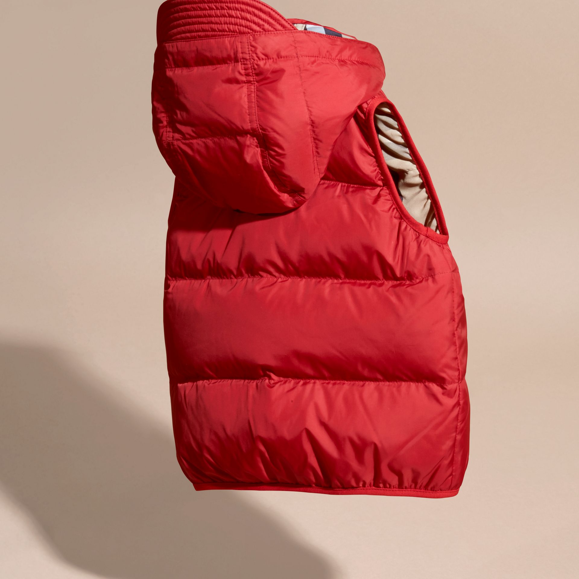 Military red Down-filled Hooded Gilet Military Red - gallery image 4