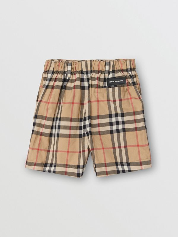 Vintage Check Cotton Poplin Tailored Shorts in Archive Beige - Children | Burberry - cell image 3