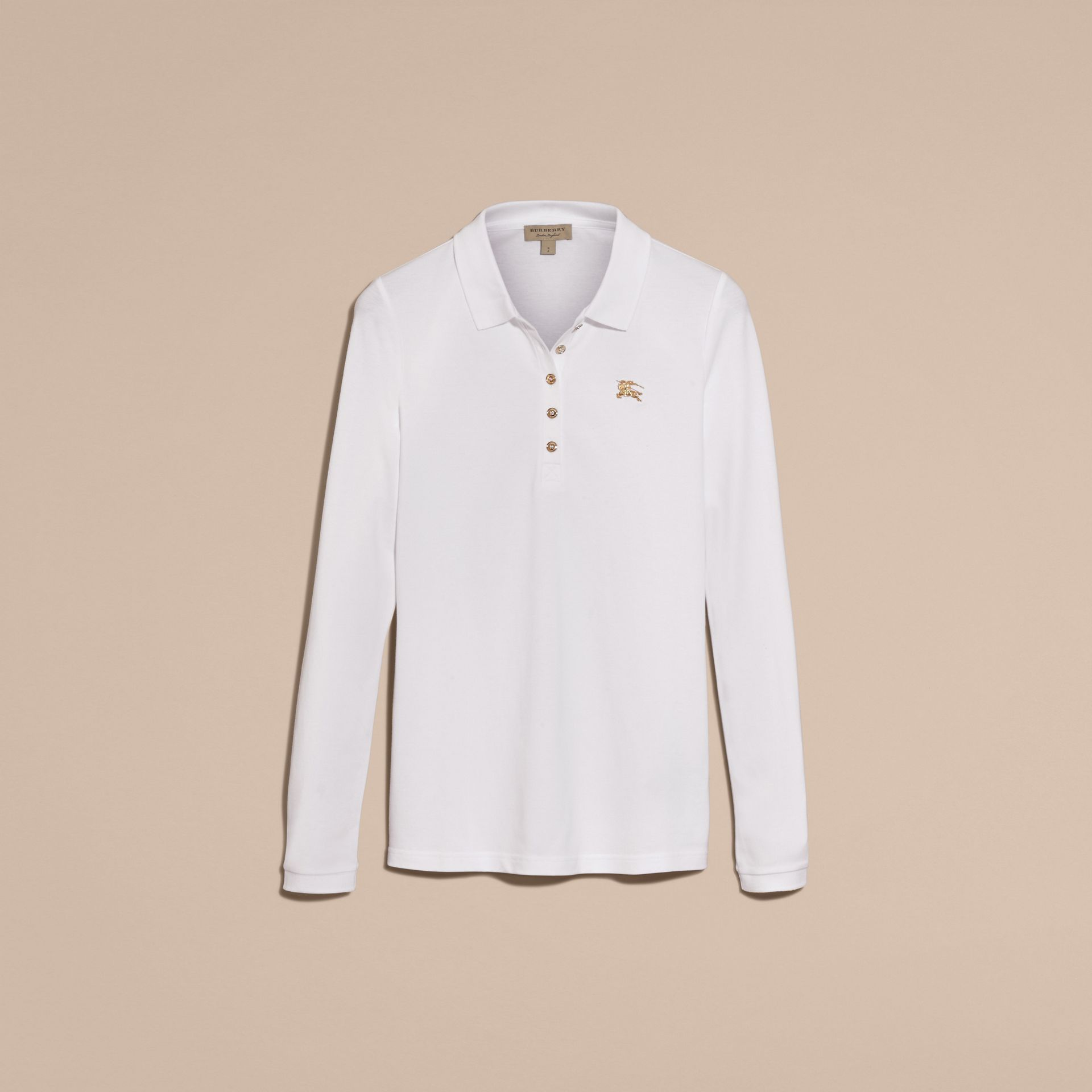 Long-sleeved Stretch Cotton Piqué Polo Shirt in White - gallery image 4