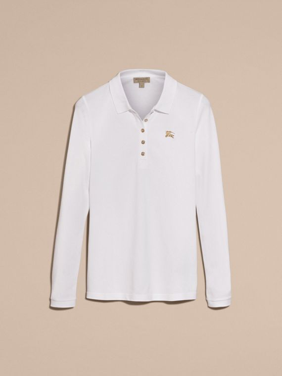 Long-sleeved Stretch Cotton Piqué Polo Shirt in White - cell image 3
