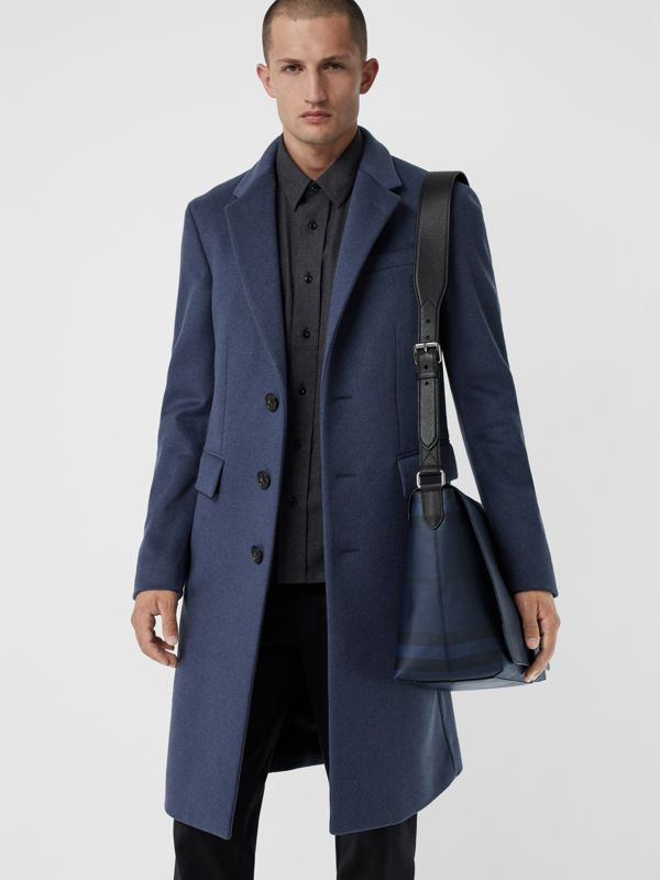 Large London Check Messenger Bag in Navy/black | Burberry United Kingdom - cell image 3