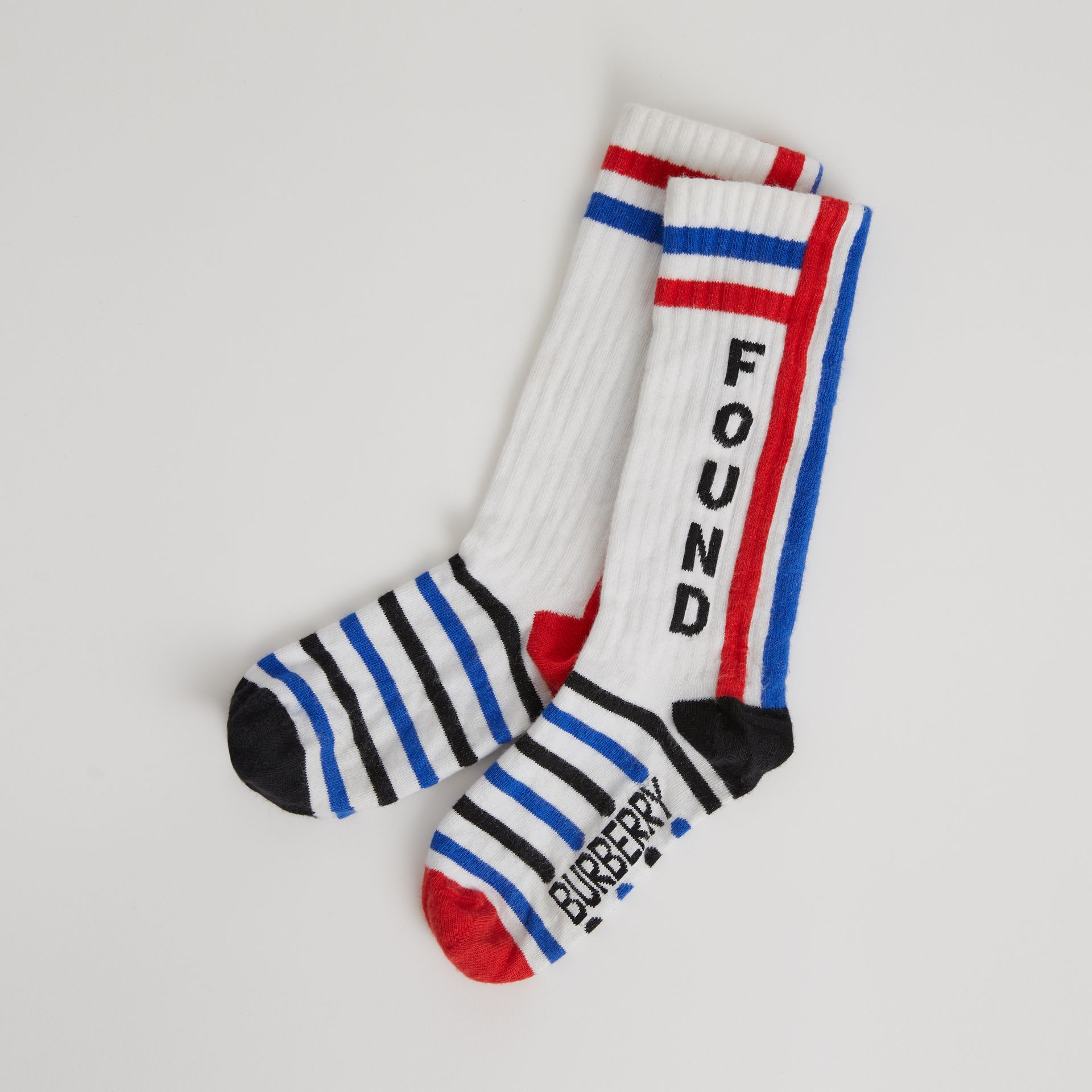 Logo Striped Cotton Blend Socks in White | Burberry - gallery image 0