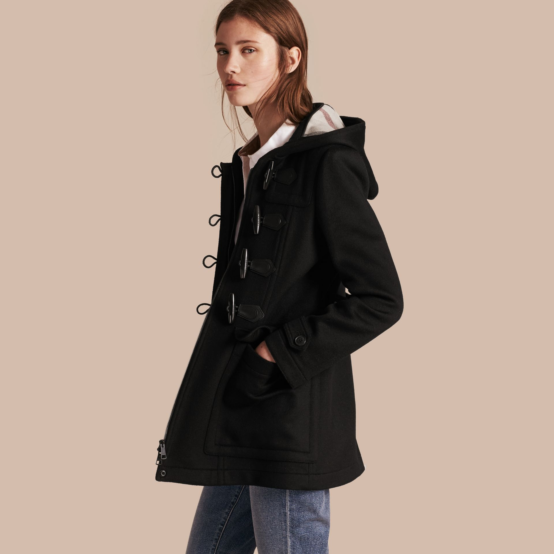Fitted Wool Duffle Coat in Black - gallery image 1
