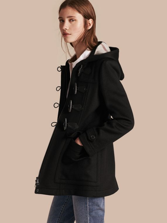 Fitted Wool Duffle Coat Black