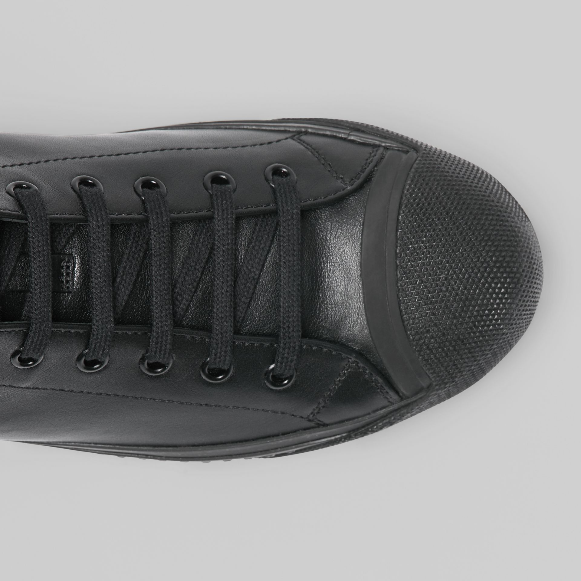 Leather and Neoprene High-top Sneakers in Black - Men | Burberry - gallery image 1