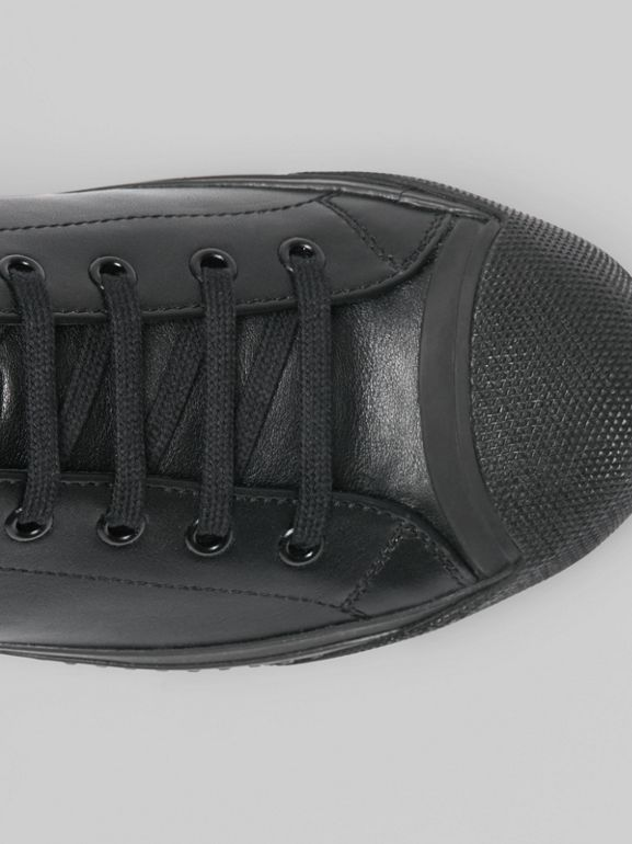 Leather and Neoprene High-top Sneakers in Black - Men | Burberry Australia - cell image 1