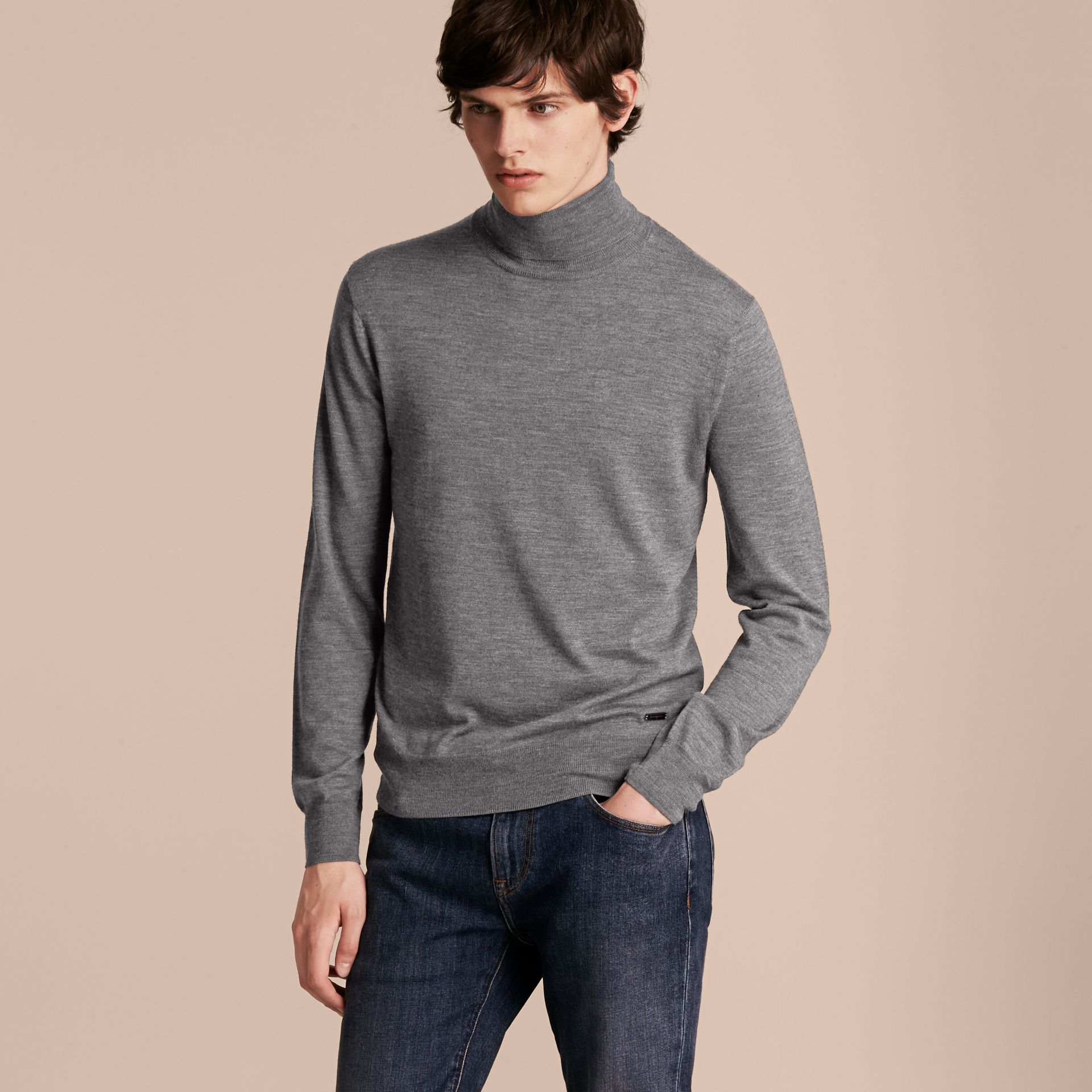 Merino Wool Roll-neck Sweater Mid Grey Melange - gallery image 6