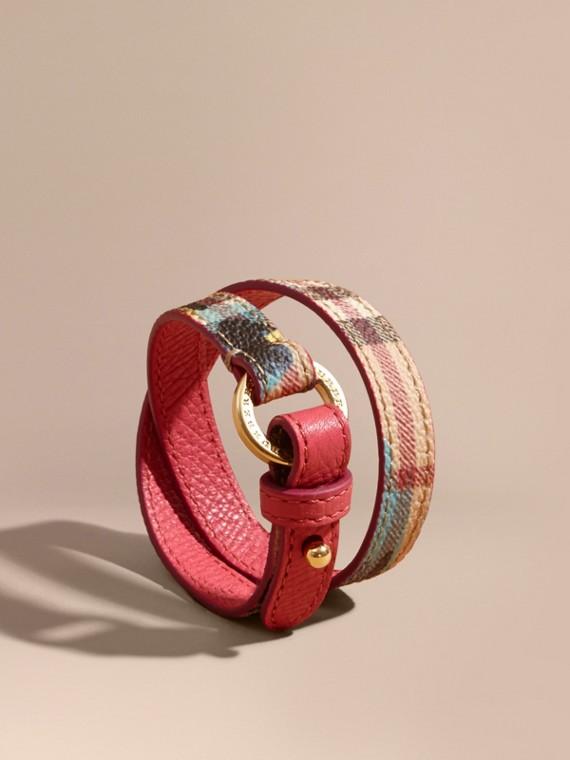 Peony Rose Print Haymarket Check Wrap Bracelet Plum Pink/pewtr Blue