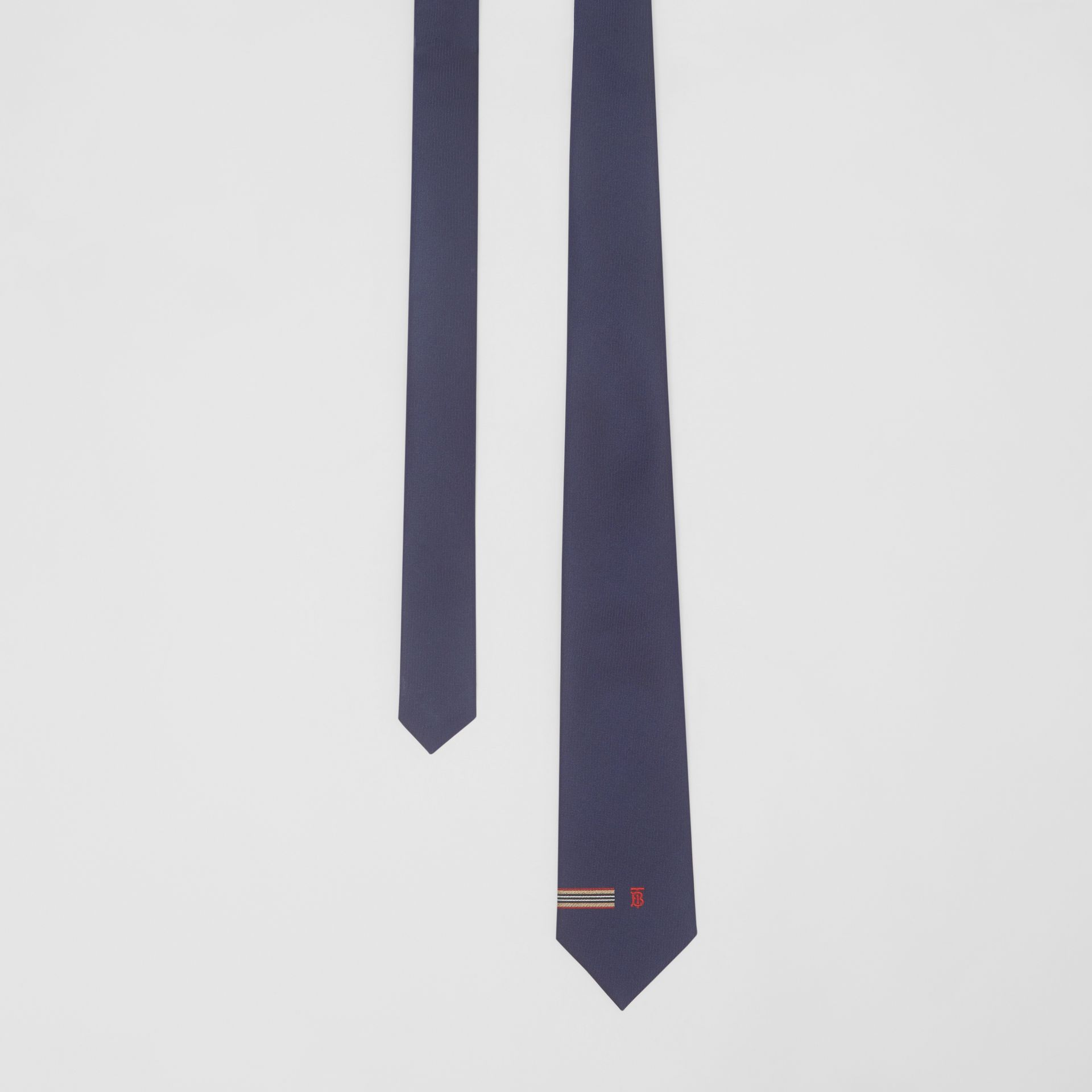 Classic Cut Icon Stripe and Monogram Motif Silk Tie in Navy - Men | Burberry United Kingdom - gallery image 0