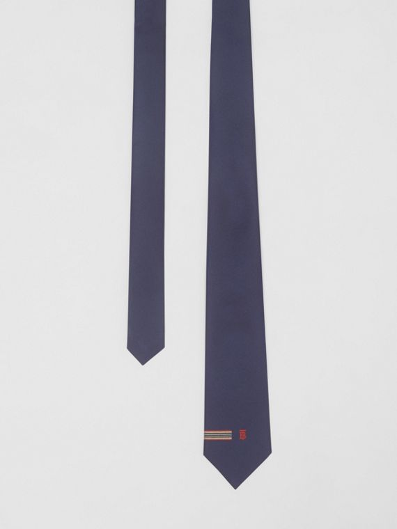 Classic Cut Icon Stripe and Monogram Motif Silk Tie in Navy