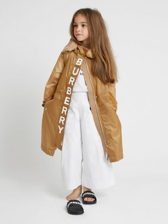 Detachable Hood Logo Print Lightweight Parka in Honey