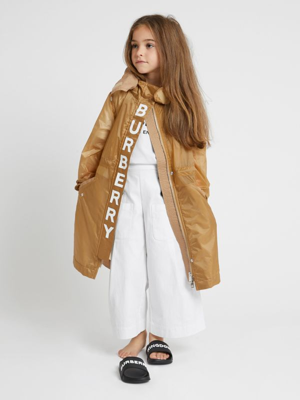 Detachable Hood Logo Print Lightweight Parka in Honey | Burberry - cell image 2