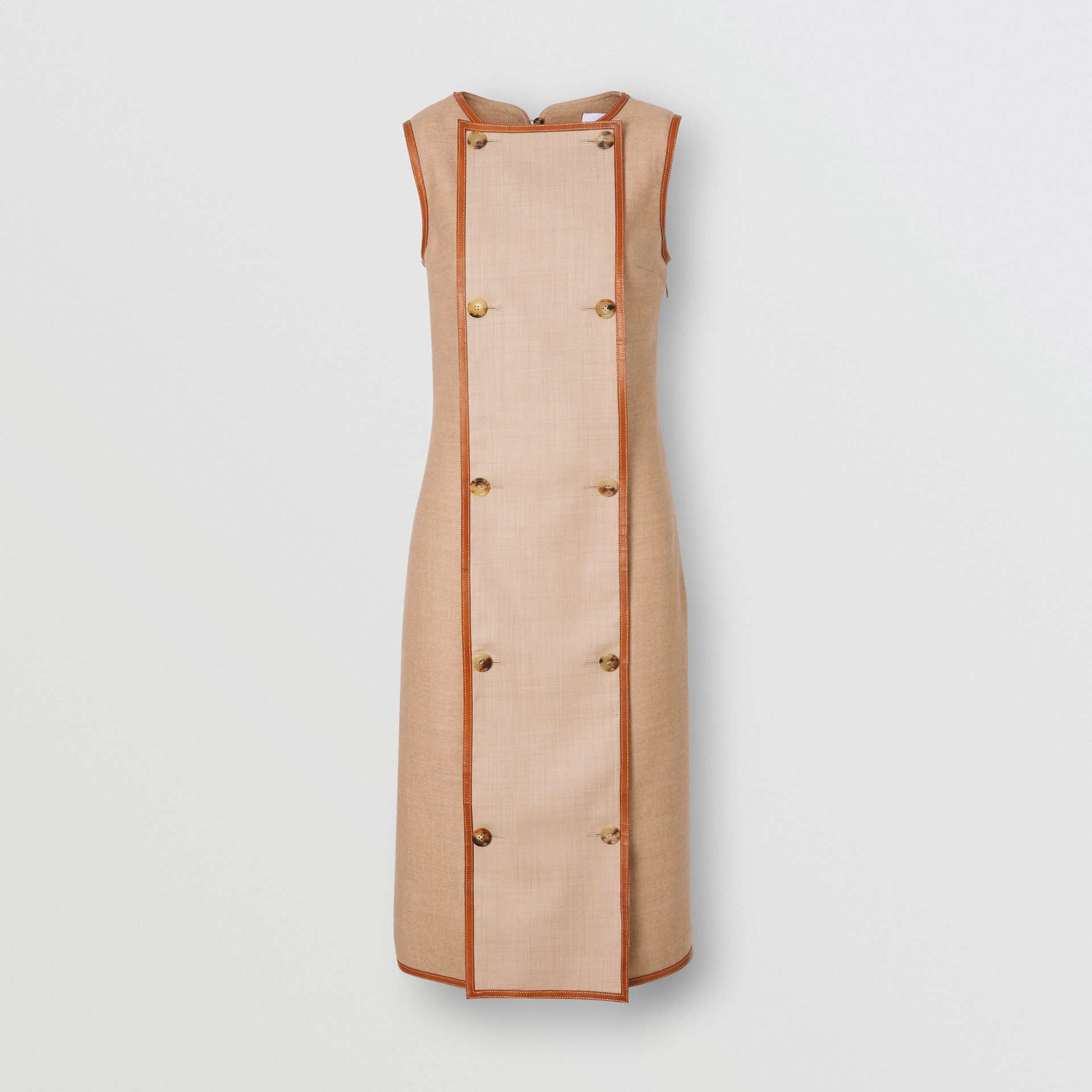 Button Panel Detail Wool Blend Shift Dress in Biscuit - Women | Burberry Singapore - gallery image 3