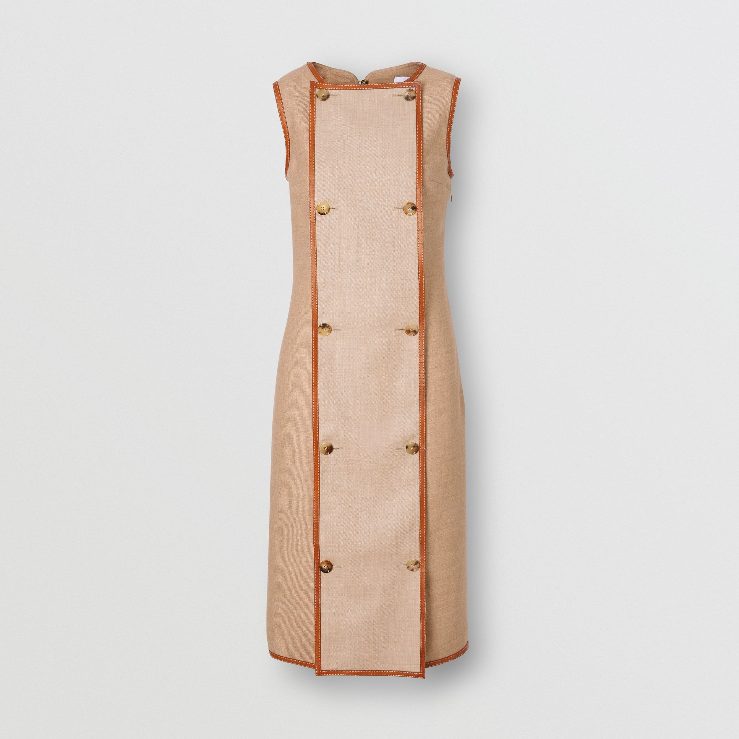 Button Panel Detail Wool Blend Shift Dress in Biscuit - Women | Burberry - 4
