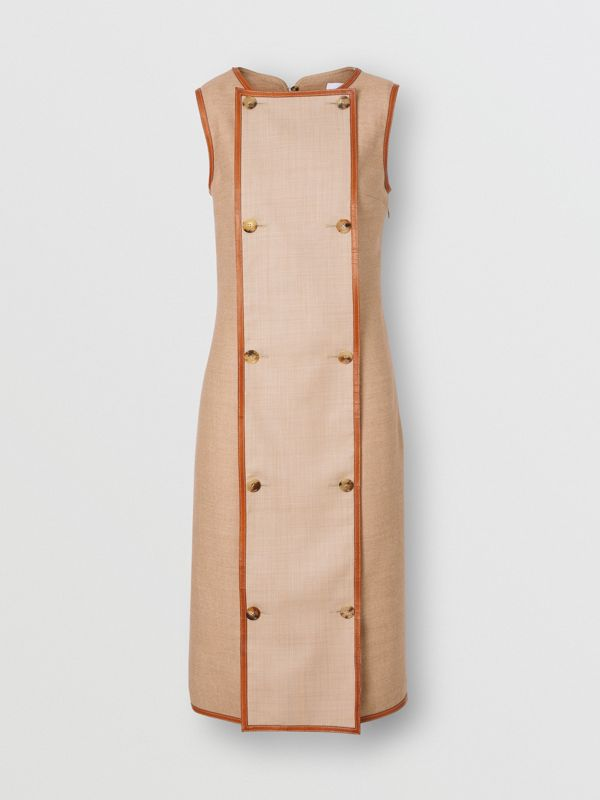 Button Panel Detail Wool Blend Shift Dress in Biscuit - Women | Burberry - cell image 3