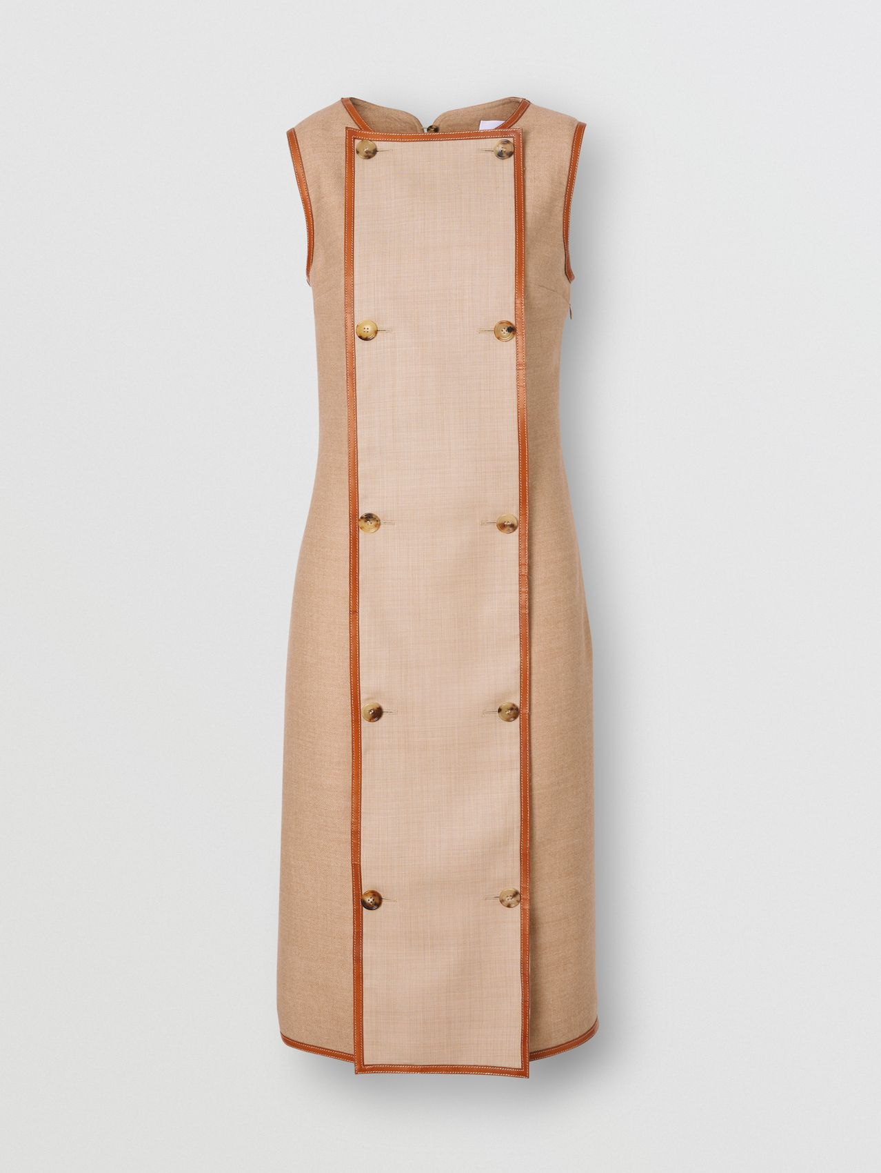 Button Panel Detail Wool Blend Shift Dress in Biscuit
