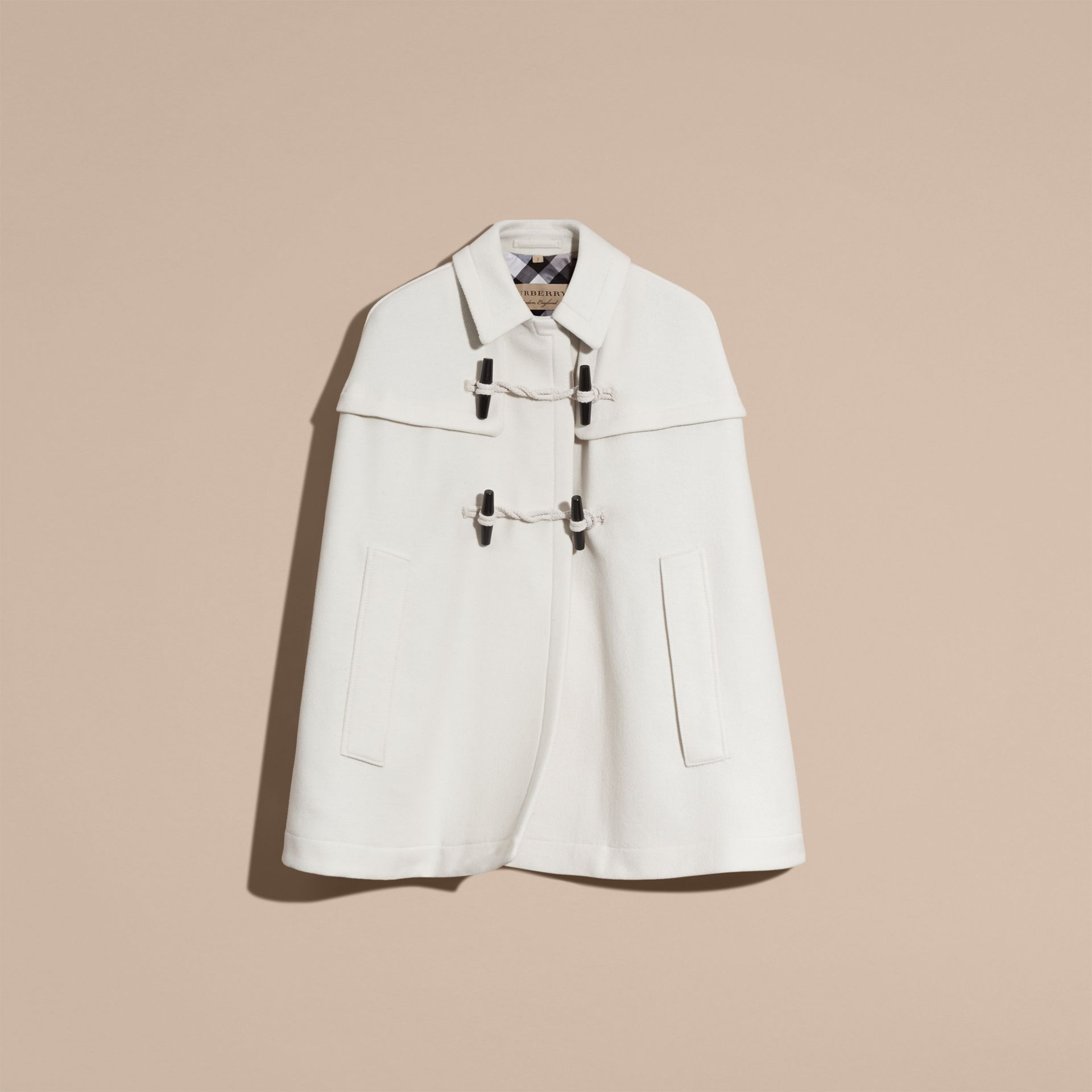Natural white Wool Cashmere Duffle Cape Coat Natural White - gallery image 4