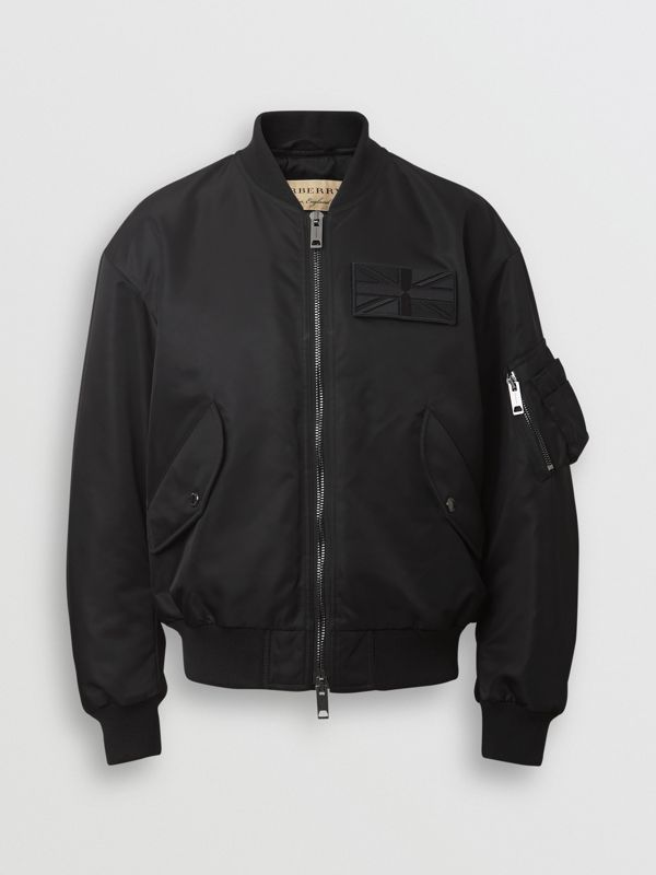 Union Jack Motif Nylon Bomber Jacket in Black - Women | Burberry - cell image 3