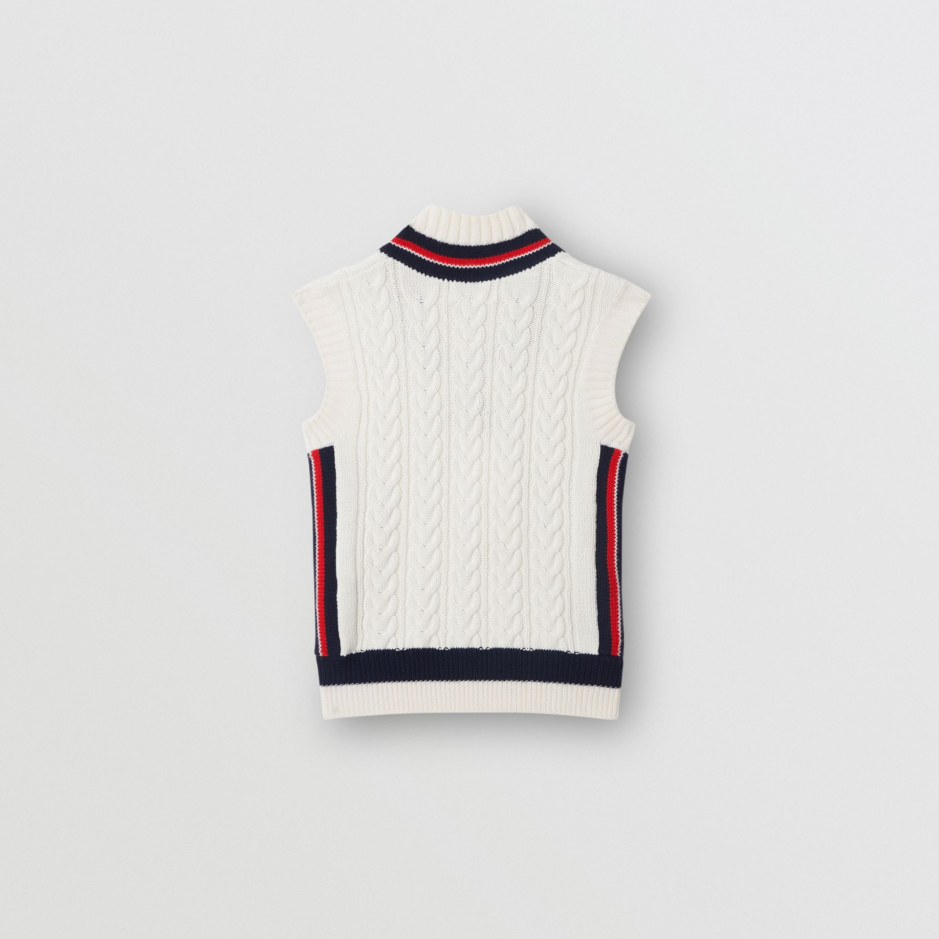 Stripe Detail Cotton and Merino Wool Vest in White | Burberry - gallery image 3
