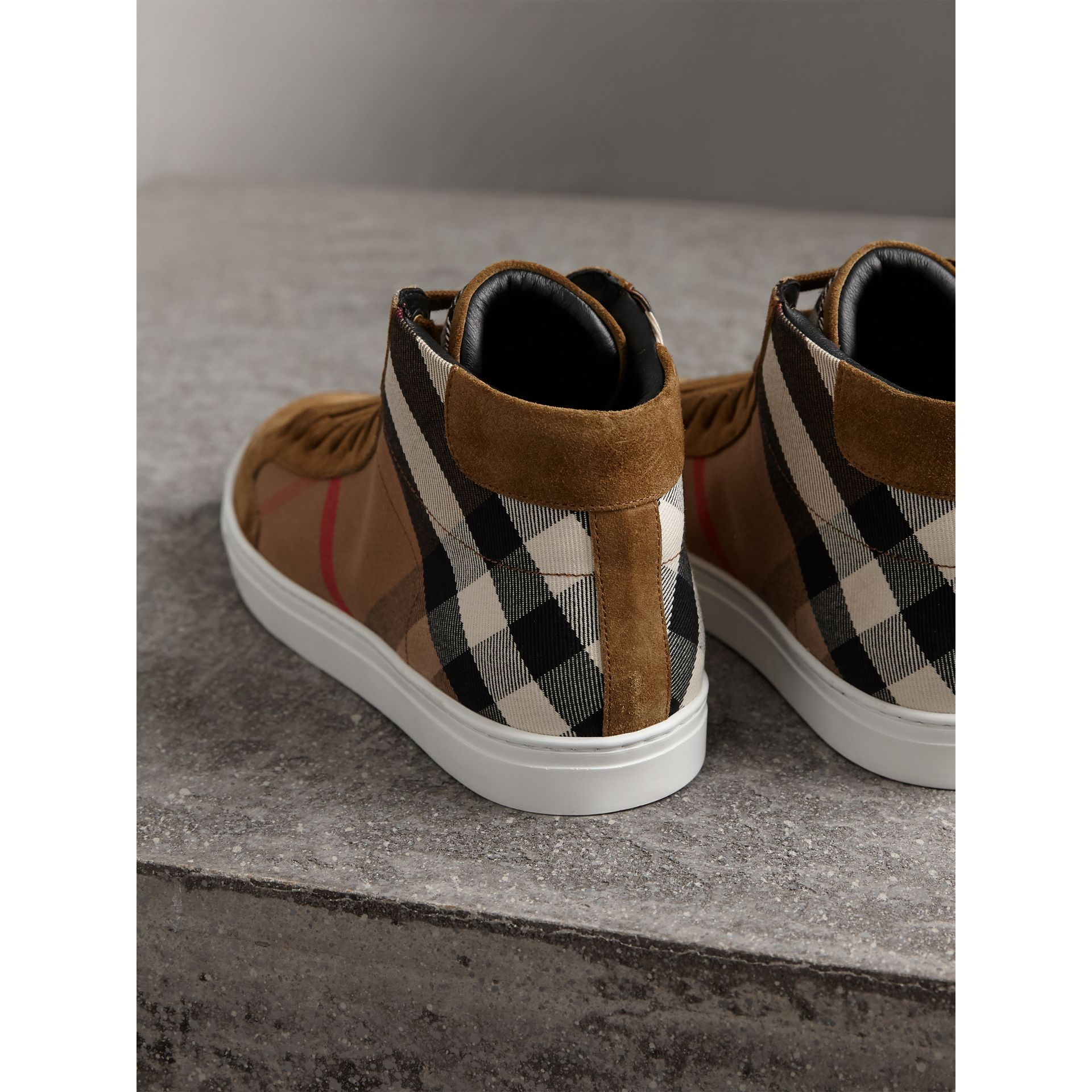 House Check Cotton and Calf Suede High-top Trainers in Flax Brown - Men | Burberry Australia - gallery image 3