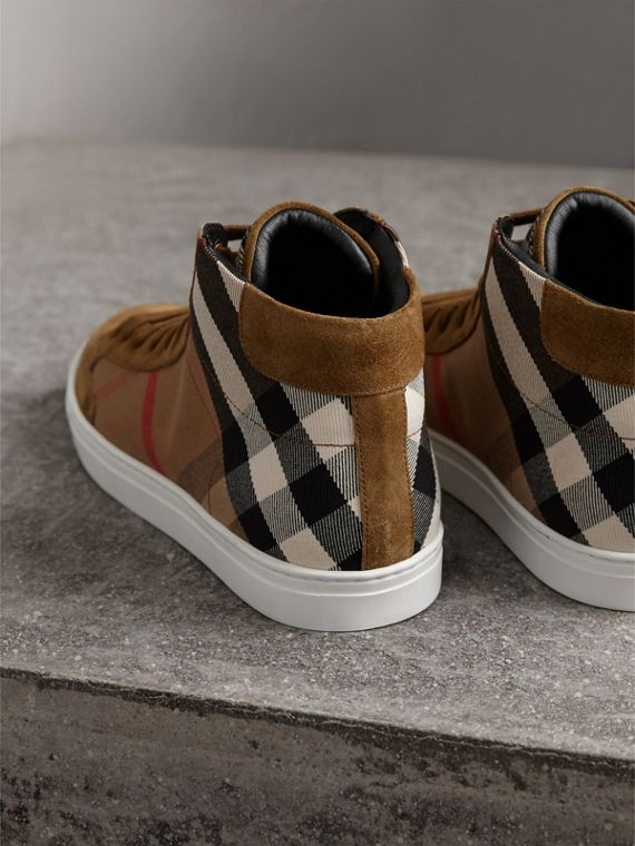House Check Cotton and Calf Suede High-top Trainers in Flax Brown - Men | Burberry - cell image 2