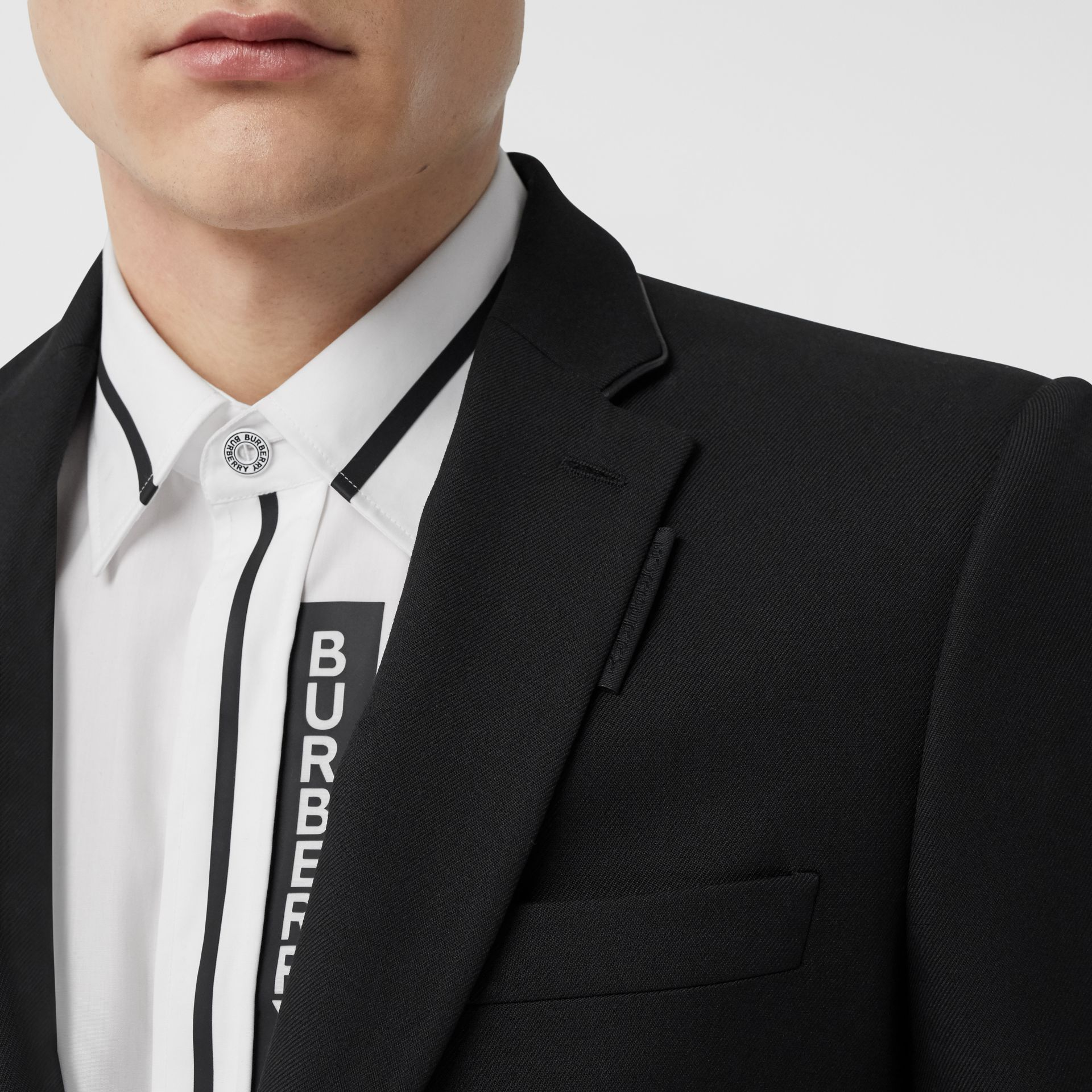 Classic Fit Lambskin Detail Wool Tailored Jacket in Black | Burberry United Kingdom - gallery image 1