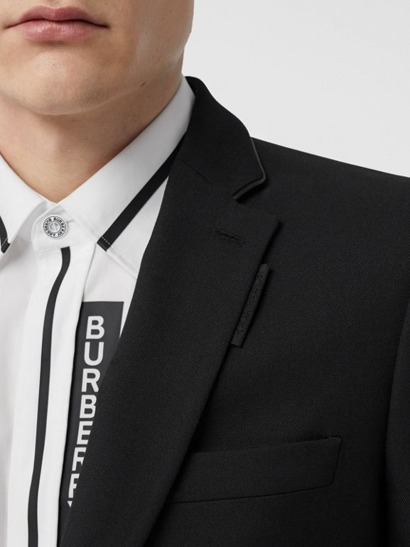 Classic Fit Lambskin Detail Wool Tailored Jacket in Black | Burberry United Kingdom - cell image 1