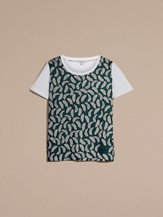 Teal blue Leaf Print Cotton T-shirt Teal Blue - cell image 3