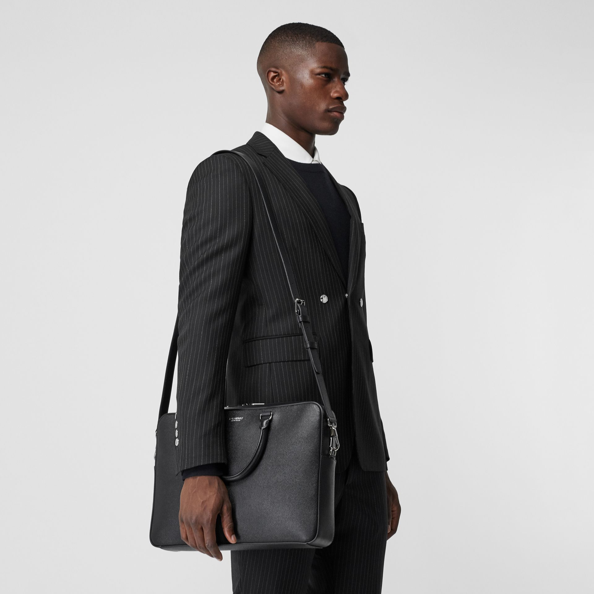 Grainy Leather Briefcase in Black - Men | Burberry - gallery image 2