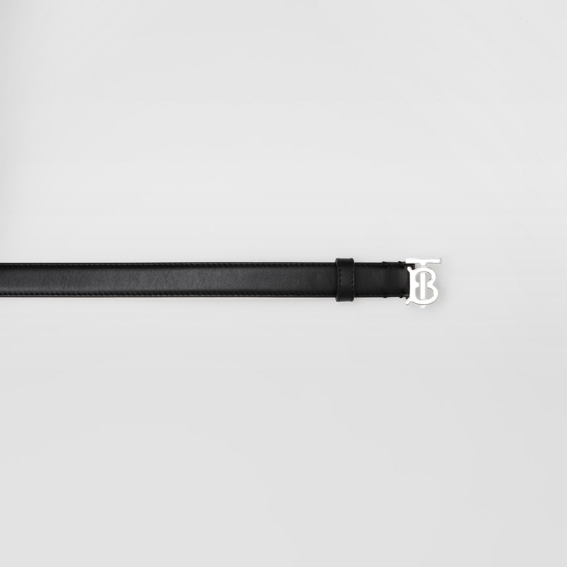 Monogram Motif Leather Belt in Black/palladio - Women | Burberry Canada - gallery image 1