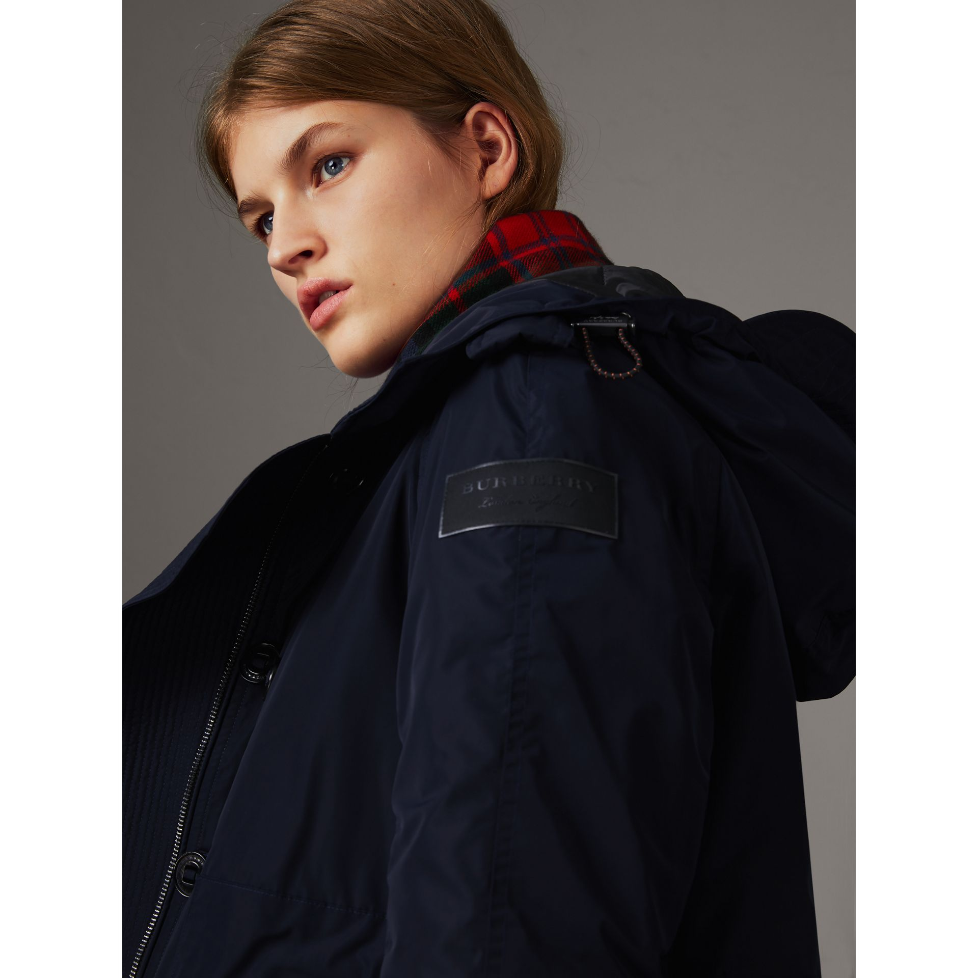 Technical Taffeta Hooded Parka in Navy - Women | Burberry - gallery image 5