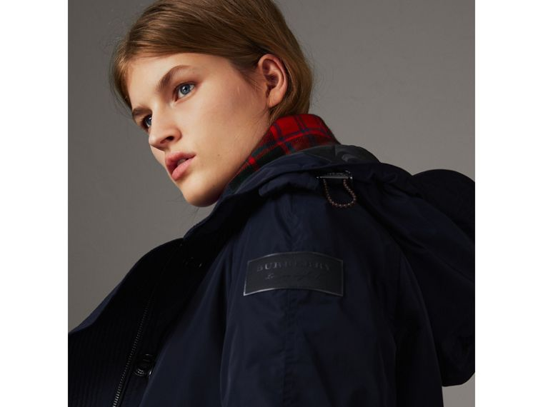Technical Taffeta Hooded Parka in Navy - Women | Burberry - cell image 4