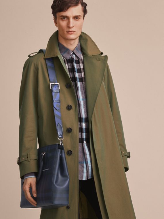 Large London Leather Briefcase in Dark Navy - Men | Burberry - cell image 3