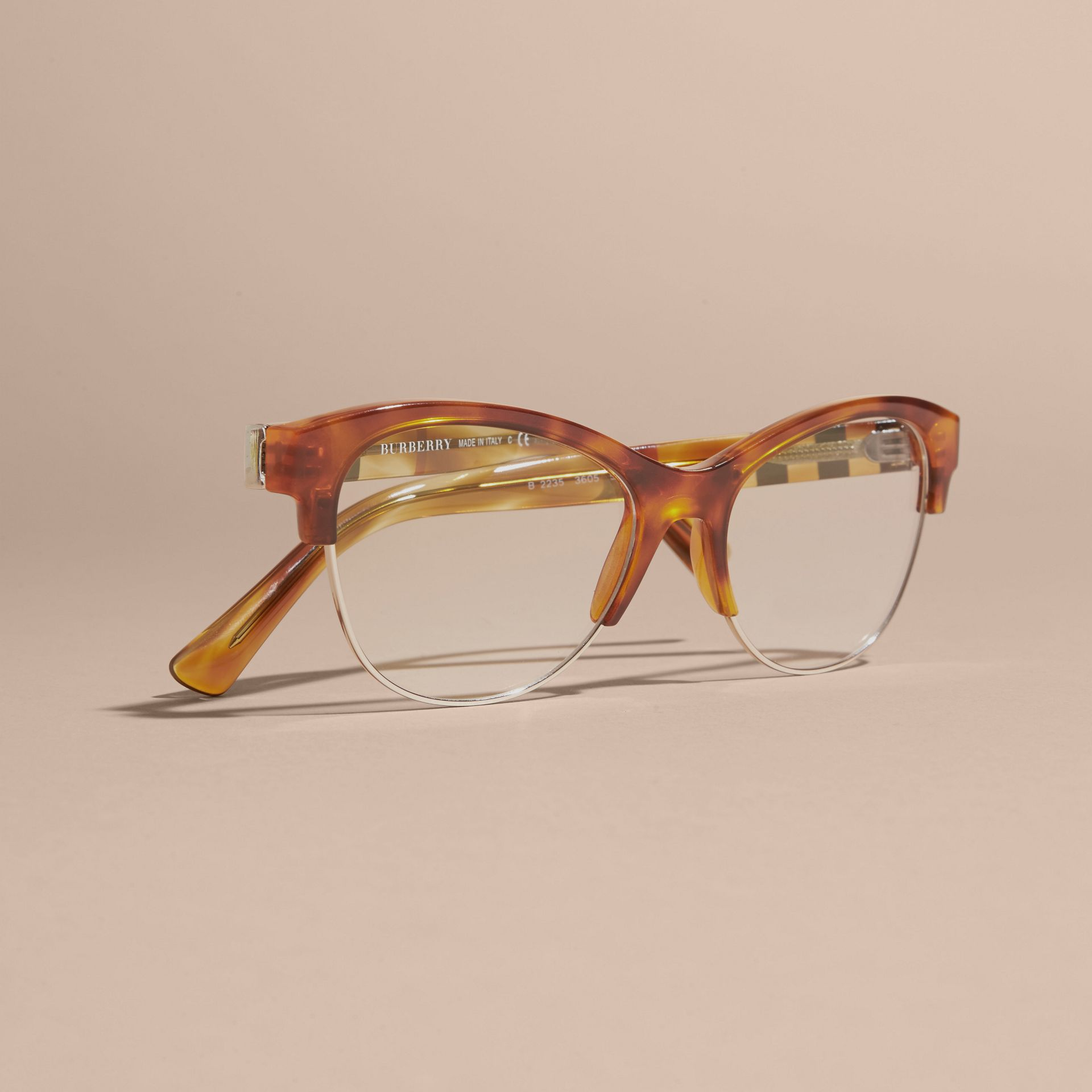 Half-rimmed Cat-eye Optical Frames in Light Russet Brown - gallery image 5