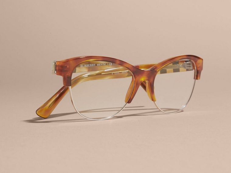 Half-rimmed Cat-eye Optical Frames in Light Russet Brown - cell image 4