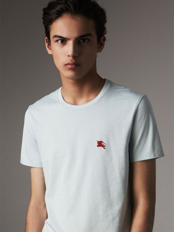 Cotton Jersey T-shirt in Pale Opal Blue - Men | Burberry Canada