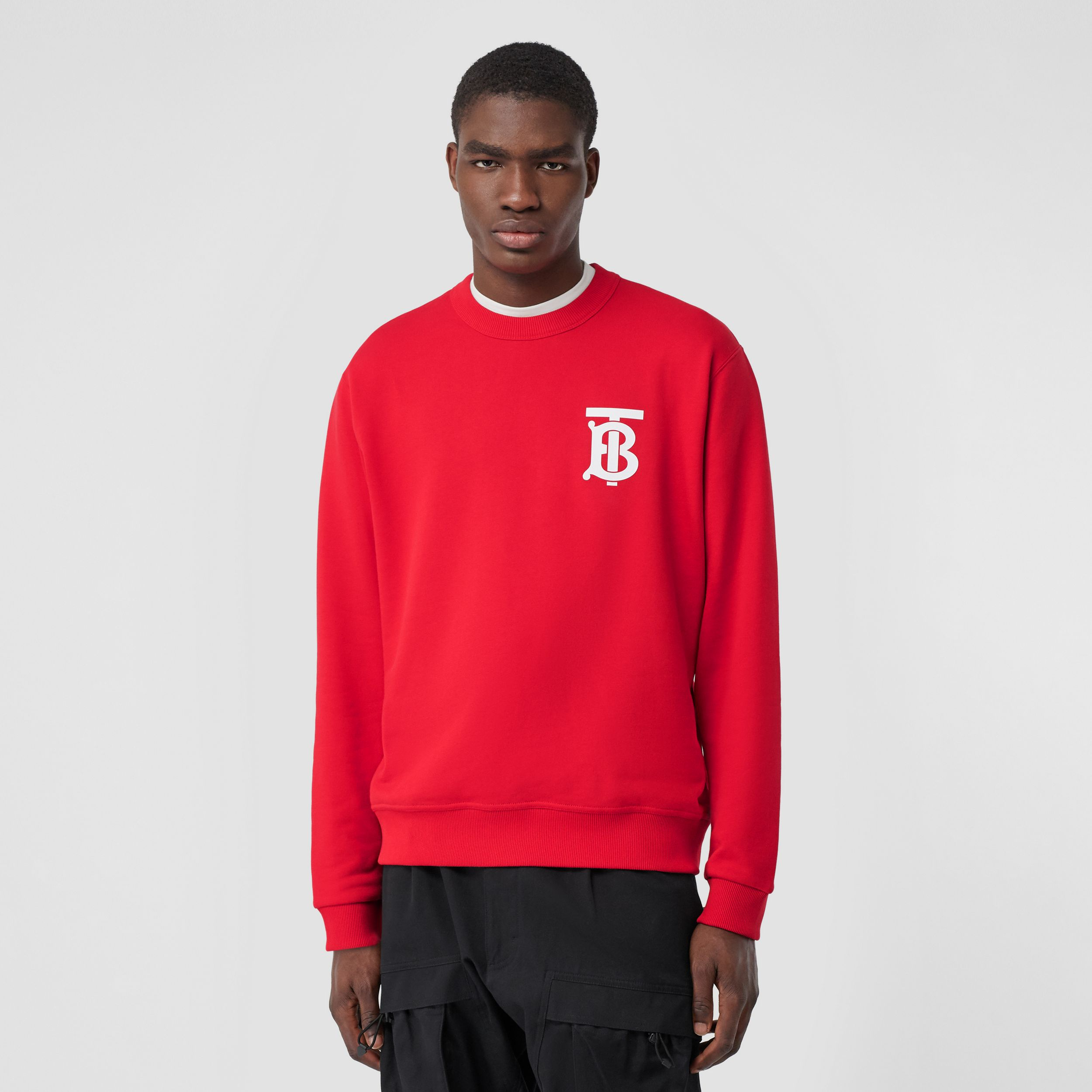 Monogram Motif Cotton Sweatshirt in Bright Red - Men | Burberry Australia - 1