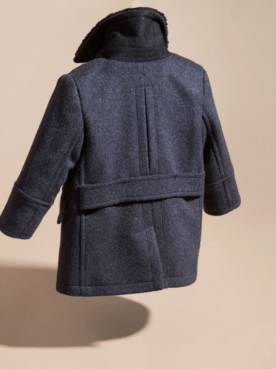 Navy Wool Cashmere Blend Pea Coat - cell image 3