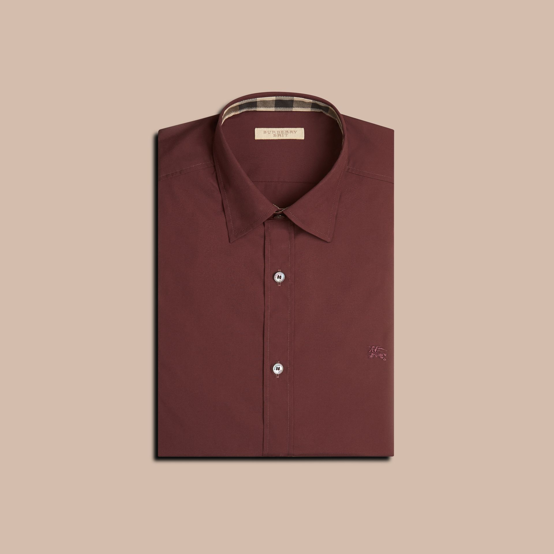 Oxblood Check Detail Stretch Cotton Poplin Shirt Oxblood - gallery image 4