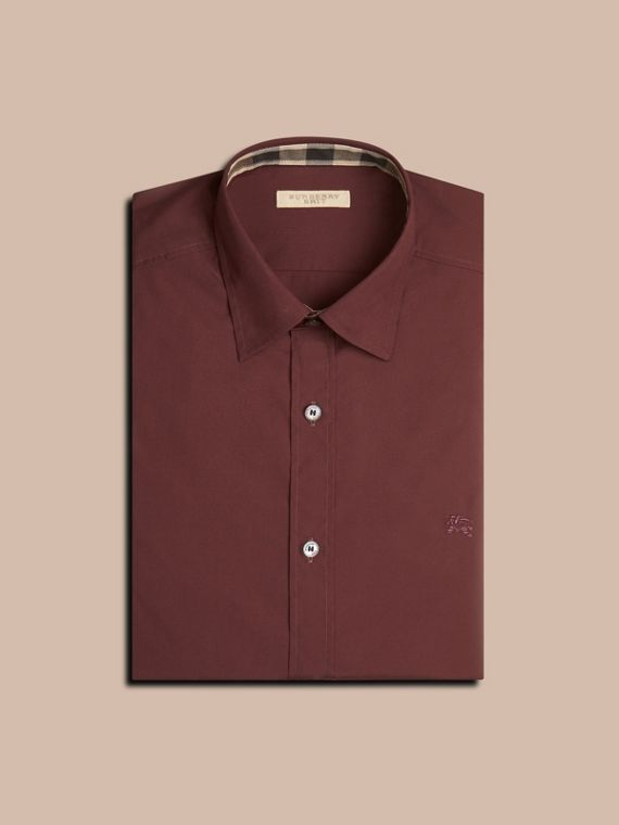 Oxblood Check Detail Stretch Cotton Poplin Shirt Oxblood - cell image 3