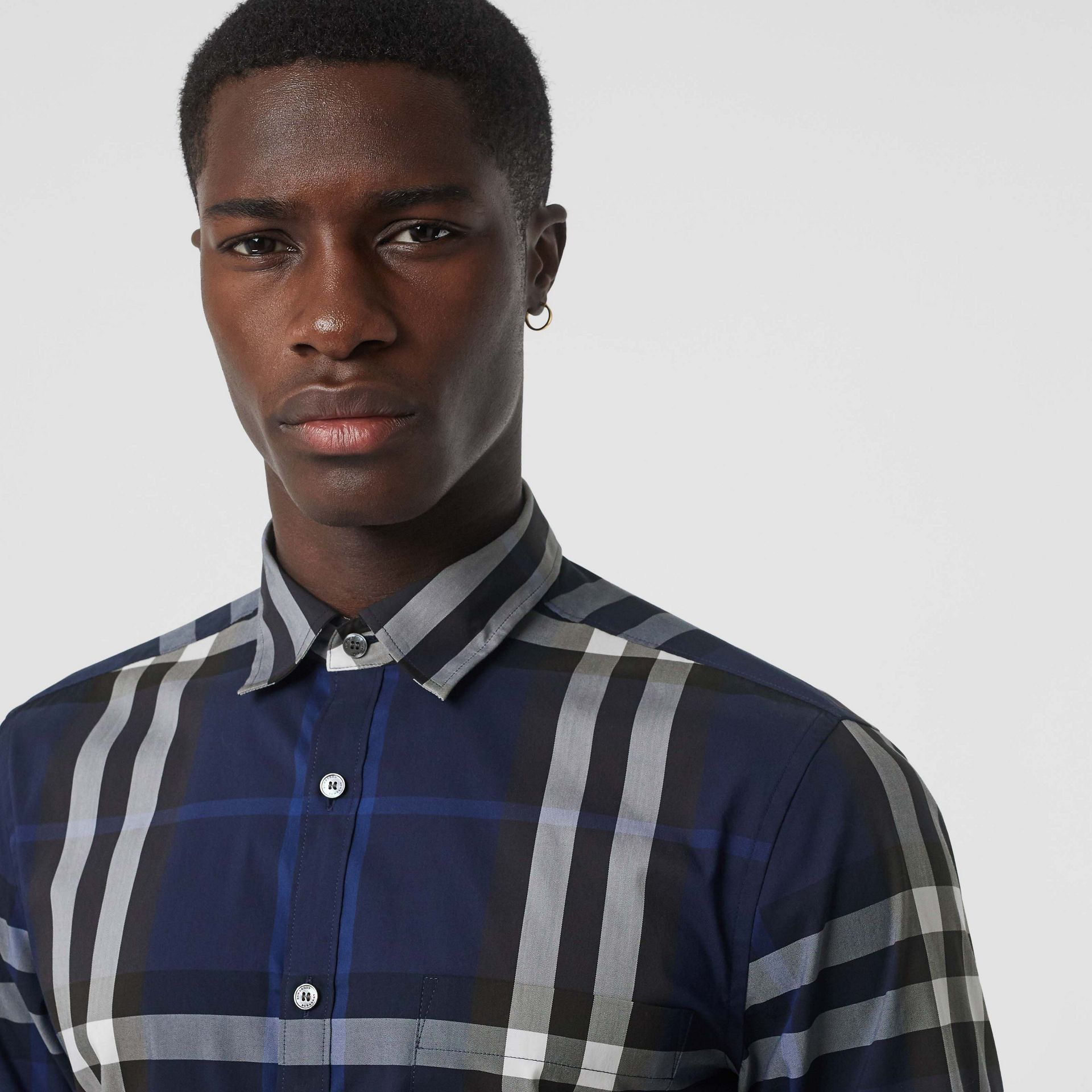 Check Stretch Cotton Shirt in Indigo Blue - Men | Burberry - gallery image 1