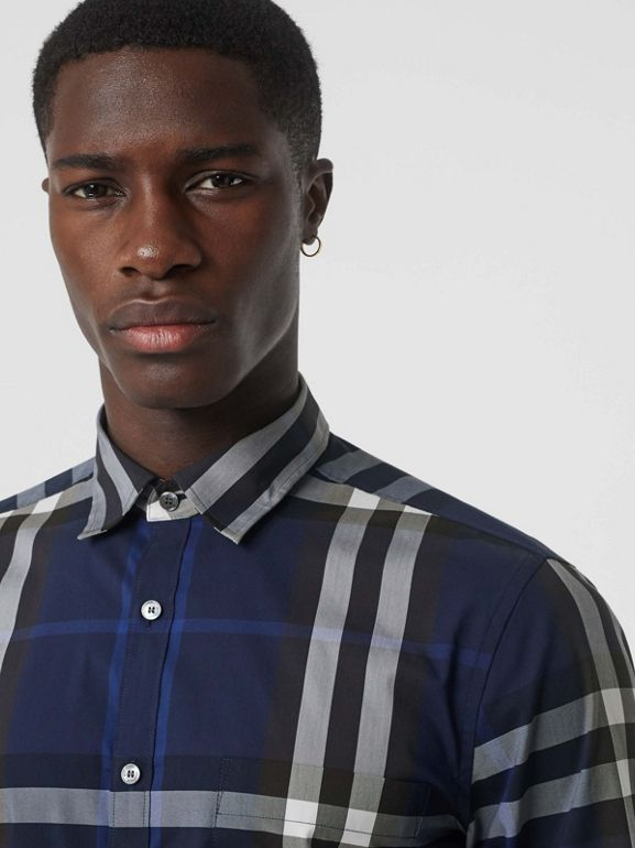 Check Stretch Cotton Shirt in Indigo Blue - Men | Burberry - cell image 1