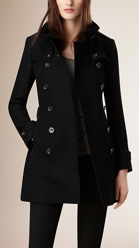Black Short Double Wool Twill Trench Coat - Image 3