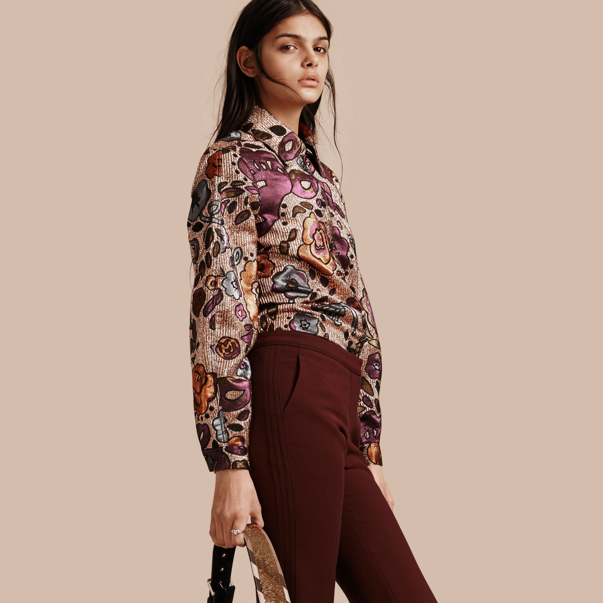 Copper rose Lamé and Floral Jacquard Sculptured Sleeve Shirt - gallery image 1