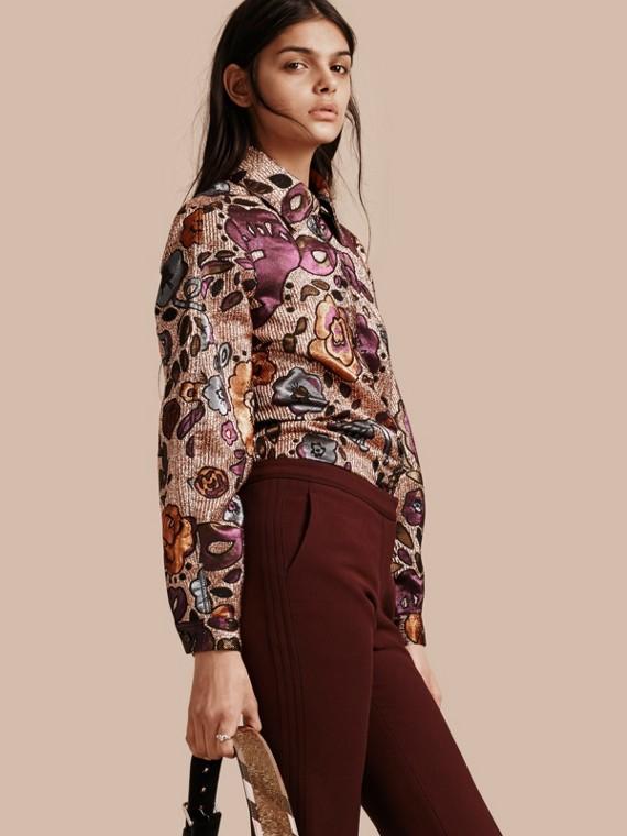 Lamé and Floral Jacquard Sculptured Sleeve Shirt