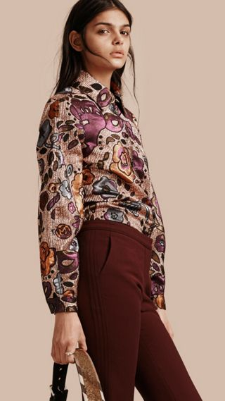 Lamé and Floral Jacquard Sculptured Sleeve Shirt