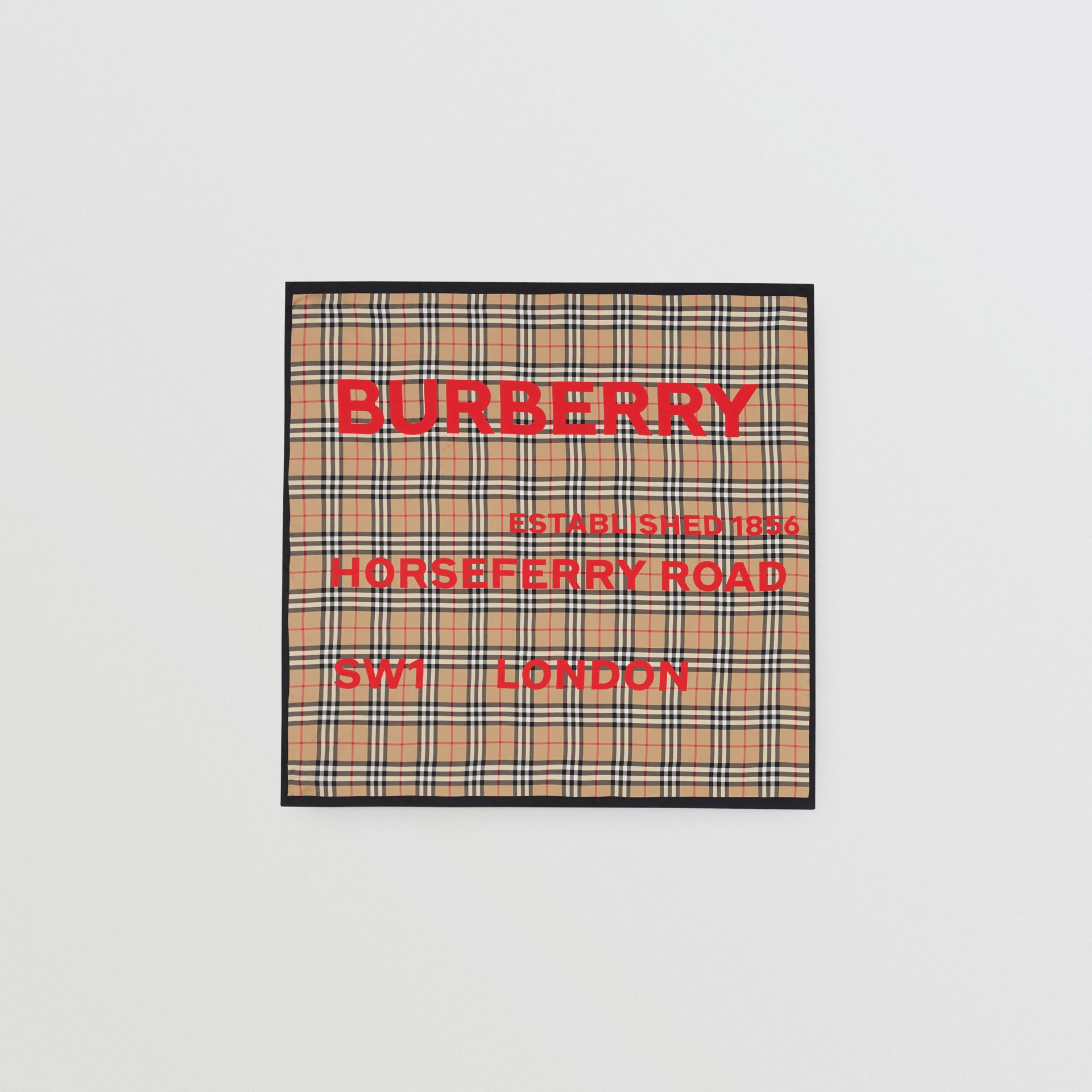 Horseferry Print Vintage Check Silk Square Scarf in Archive Beige | Burberry - gallery image 0
