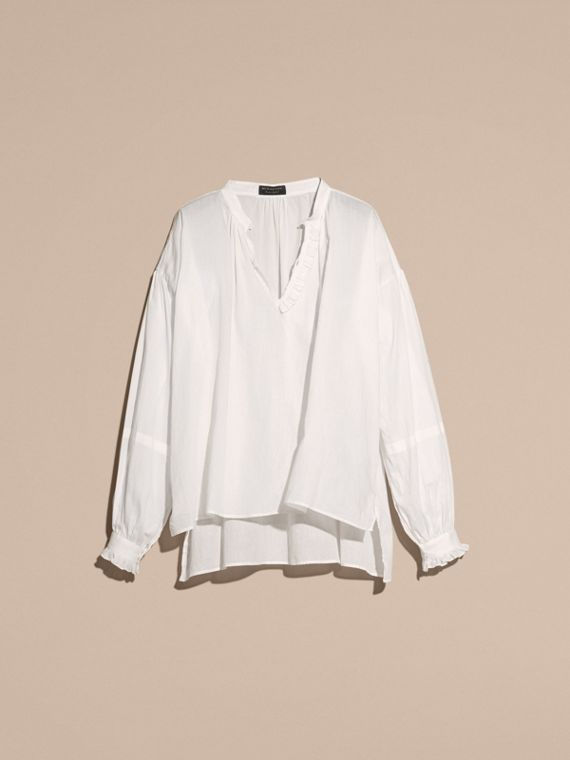 White Ruffle Detail Cotton Voile Tunic - cell image 3
