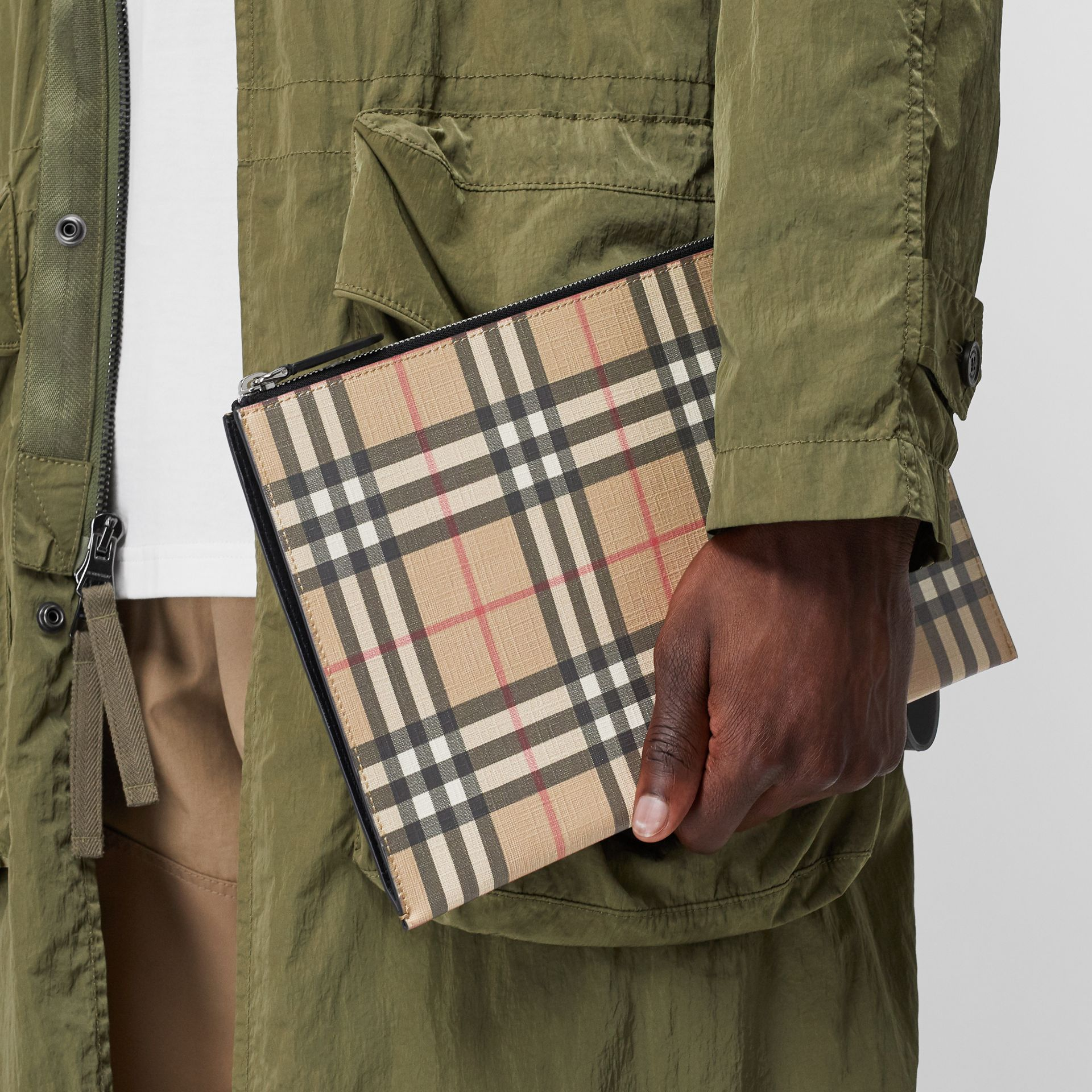 Vintage Check E-canvas and Leather Zip Pouch in Archive Beige - Men | Burberry - gallery image 2